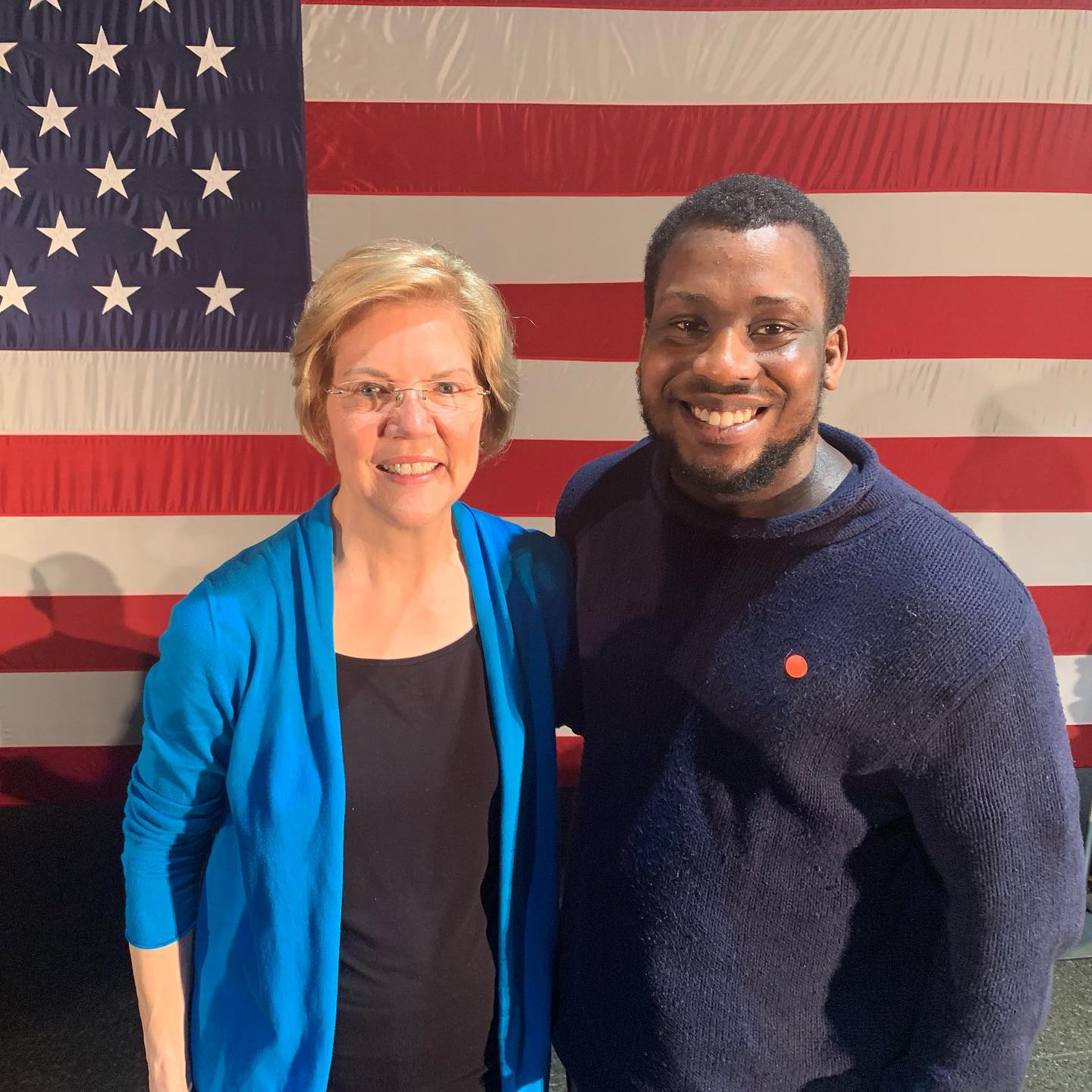 UA Little Rock alum Brian Gregory, right, is working on the presidential campaign of Sen. Elizabeth Warren, left, in Iowa.