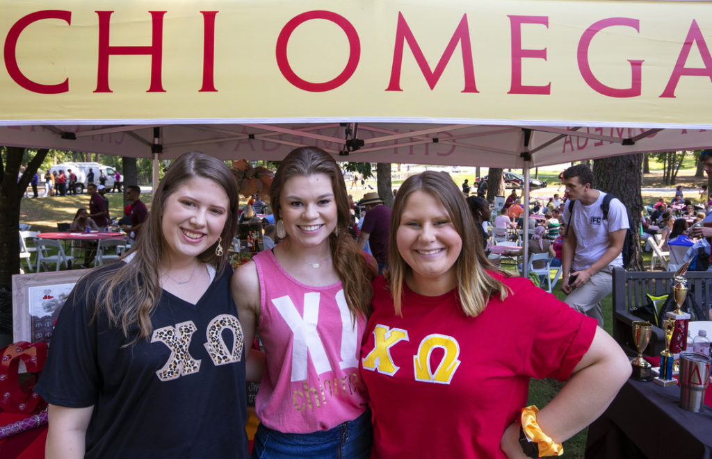 Members of Chi Omega join the BBQ at Bailey celebration Sept. 5. Photo by Ben Krain.