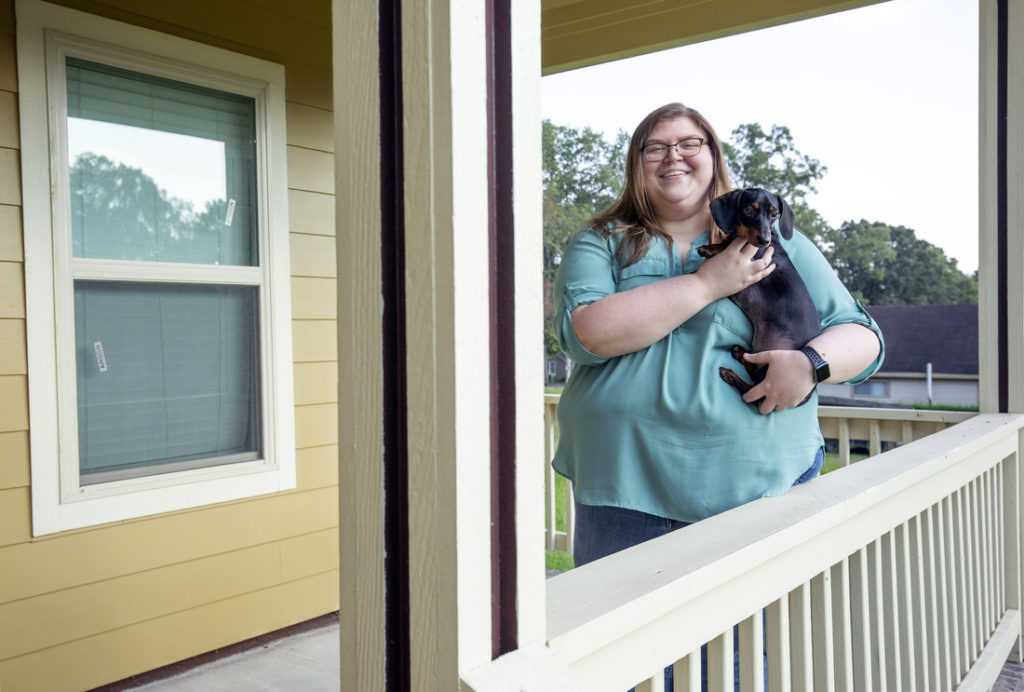 UA Little Rock social work graduate Cadie Foscue bought her house in the Oak Forest neighborhood through the University District first time homebuyer program. Photo by Ben Krain.
