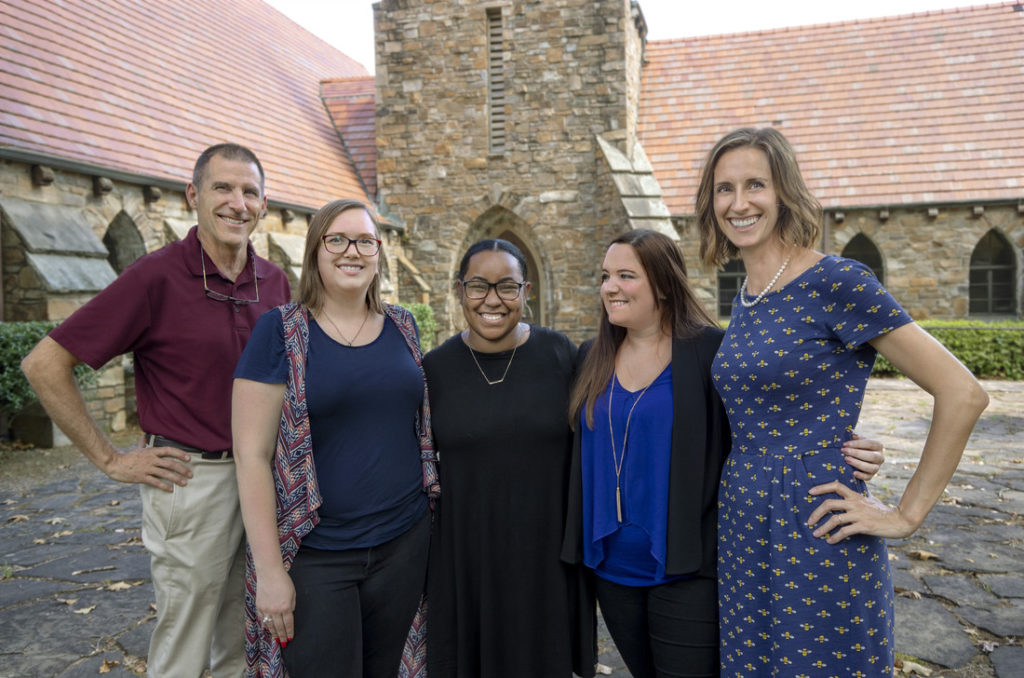 From left, UA Little Rock professors and student researchers Gerald Driskill, Jessica Olson, Jasmine Pugh, Kaylyn Hager, and Rebecca Glazier are researching how partnerships between churches and nonprofit organizations can provide services to the community. Photo by Ben Krain.