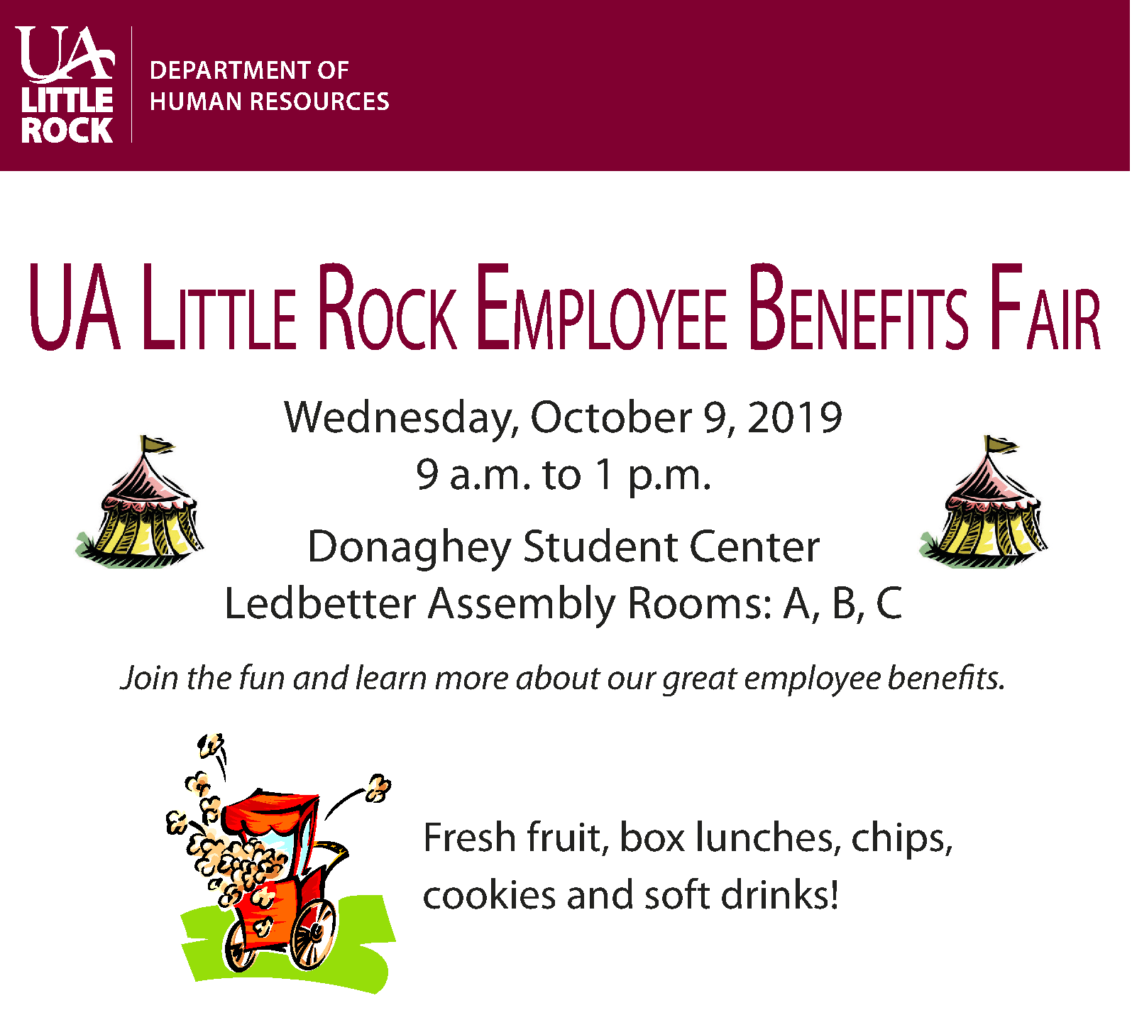 2019 Employee Benefits Fair flyer from the UA Little Rock Department Human Resources