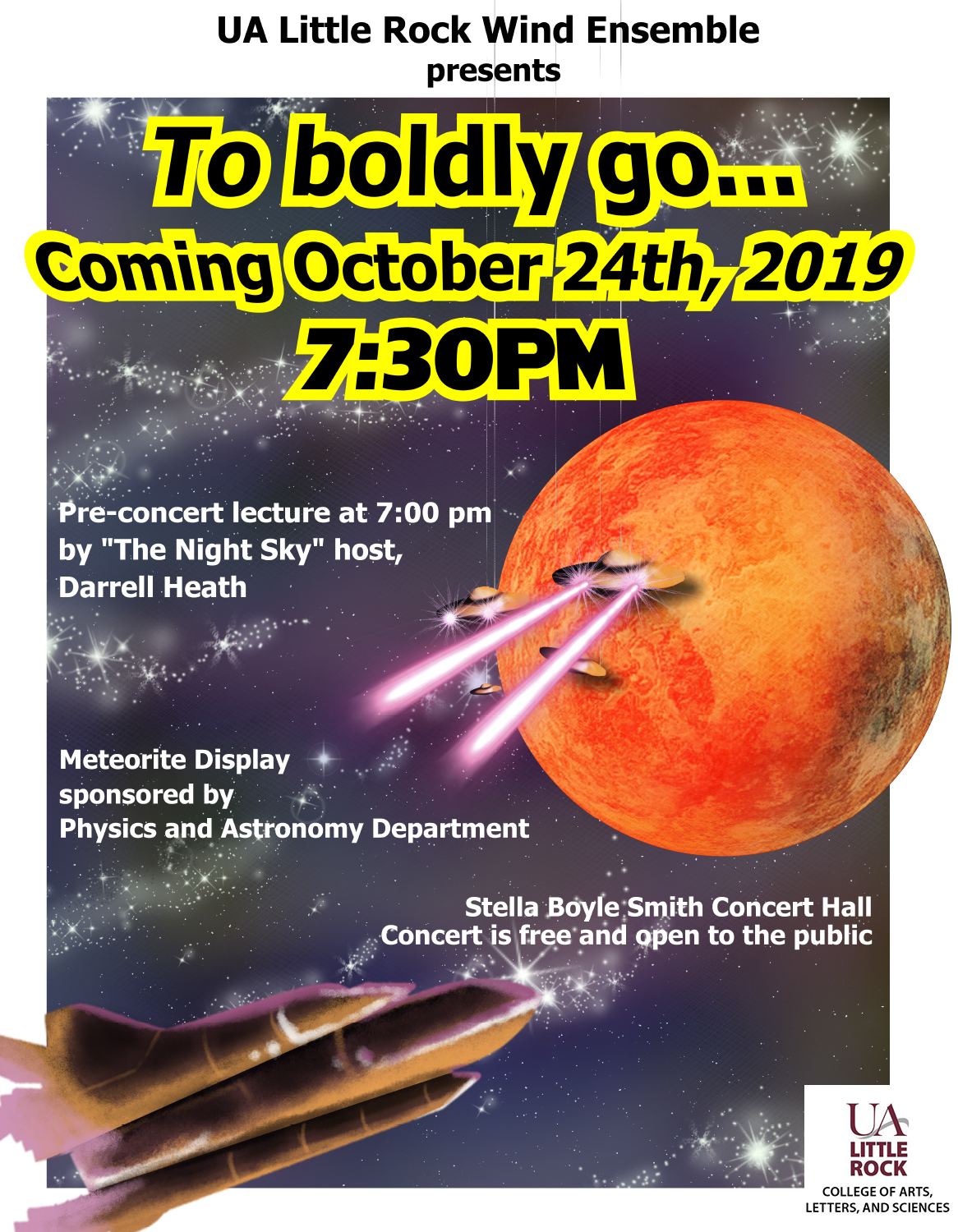 The University of Arkansas at Little Rock Wind Ensemble will host an out-of-this-world concert Oct. 24 featuring a special astronomy lecture and meteorite display.