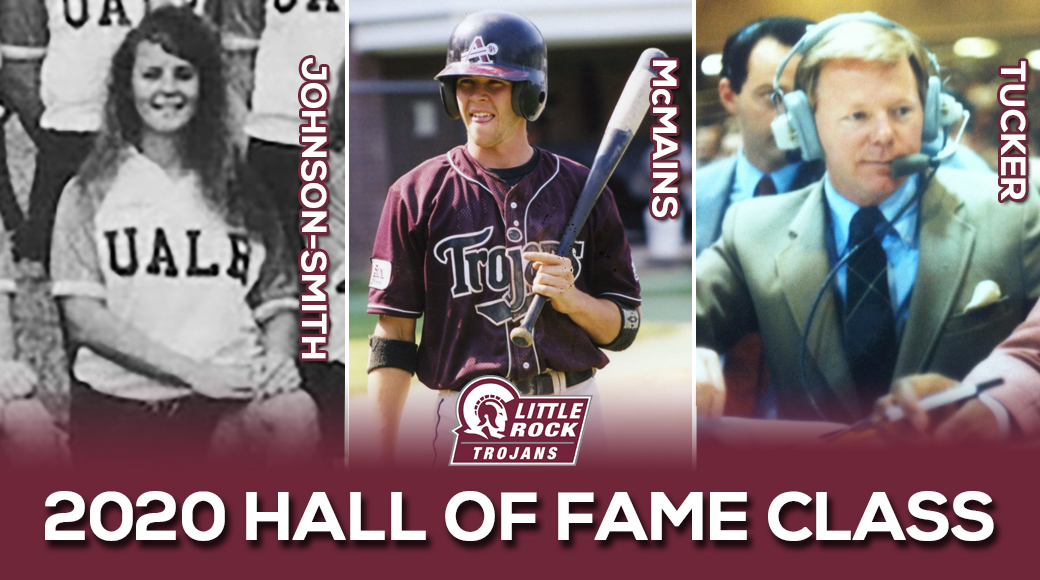 The University of Arkansas at Little Rock athletics program is pleased to announce three inductees that will comprise the 2020 Trojan Athletic Hall of Fame class. Stacy Johnson-Smith ('92), Derin McMains ('04), and Ray Tucker will officially take their place among the Trojan all-time greats during Hall of Fame Weekend, being held Jan. 10-11, 2020.
