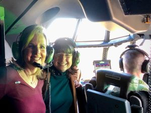 Edie Stewart (right), assistant vice chancellor for enrollment management, and Chancellor Christina Drale (left) were recognized for their efforts to support military service members this month with a flight in a C-130 military aircraft.