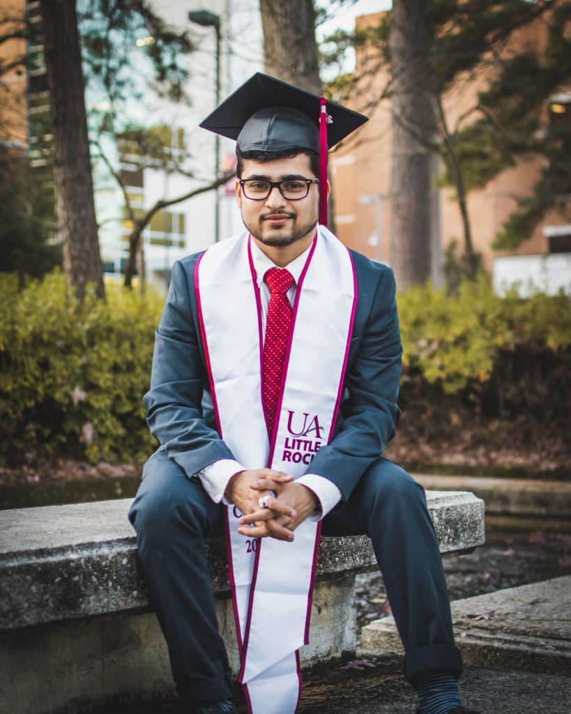 Het Adhvaryu, an international student ambassador and fall 2019 graduate, spent his undergraduate years at the University of Arkansas at Little Rock extending friendship and assisting in research to address breast cancer with the aid of nanotechnology.