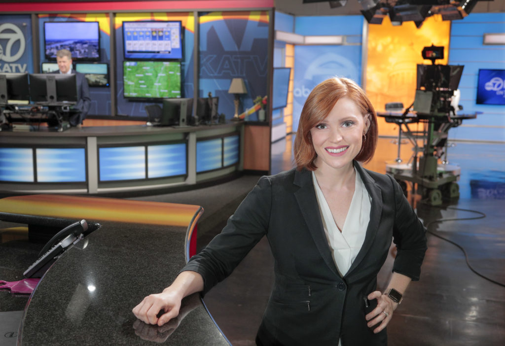 KATV news anchor and reporter Janelle Lilley Cline Is also a full time student at UALR William H. Bowen School of Law. Photo by Ben Krain.