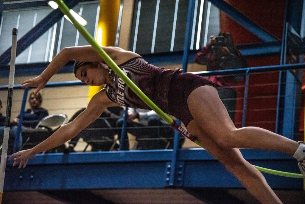 Tricia Pierce registered a height of 11-5.75 (3.50m) in the pole vault at the Jan. 17, 2020 track and field invitational in Fayetteville.