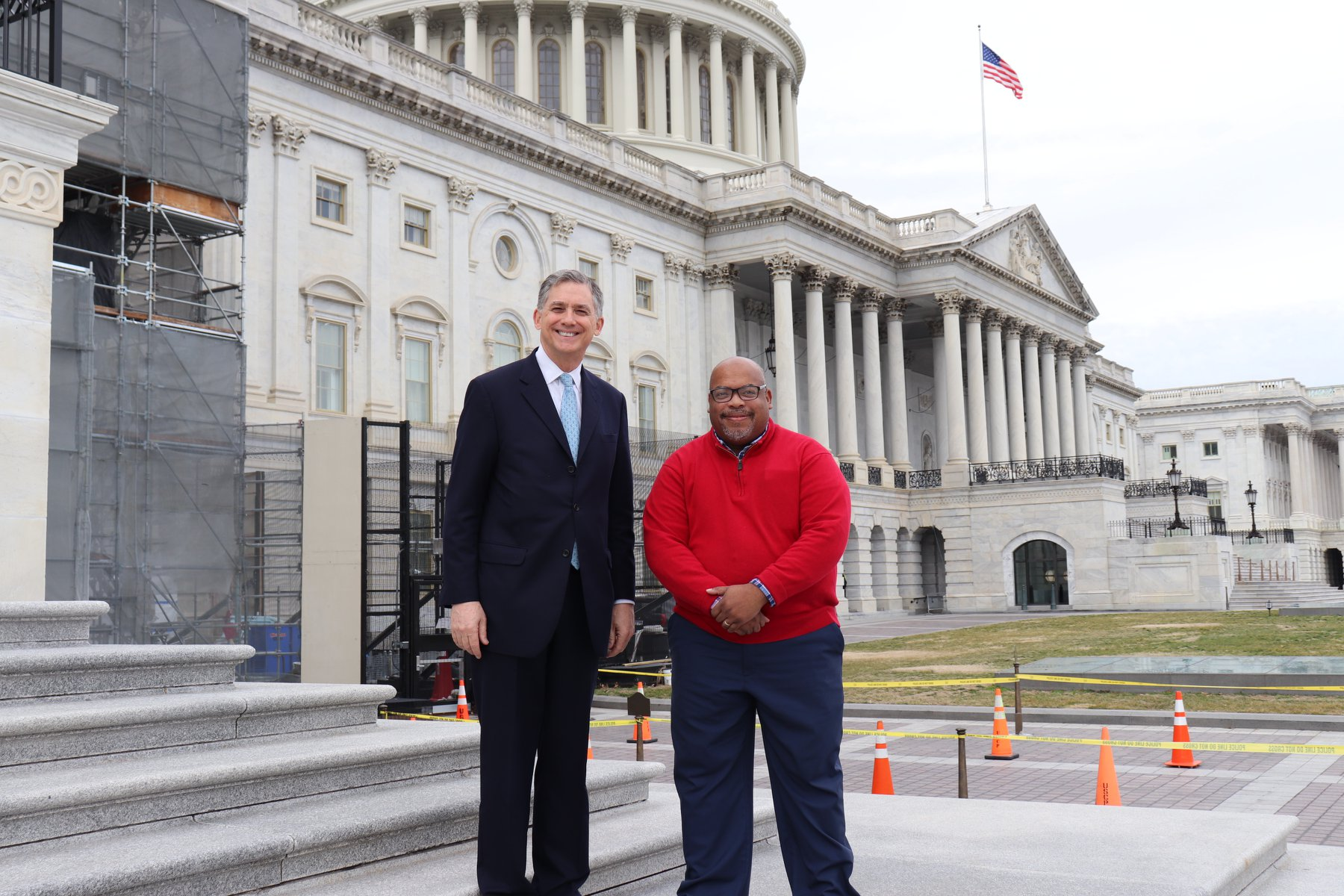 U.S. Rep French Hill, left, and Dr. Brian Mitchell, right, visit the U.S. Capitol Building in Washington, D.C.