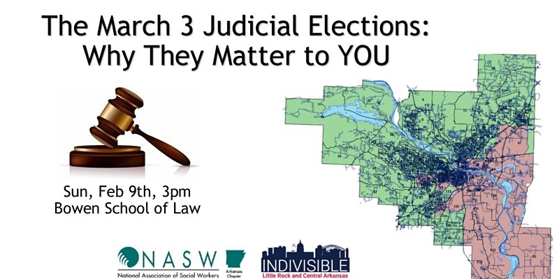 A Judicial Candidates Forum will be held on Sun., Feb. 9, from 3-5 p.m. at the William H. Bowen School of Law. All Pulaski County judicial candidates running in contested races have been invited to discuss their approaches to local issues. The forum is free and open to the public.