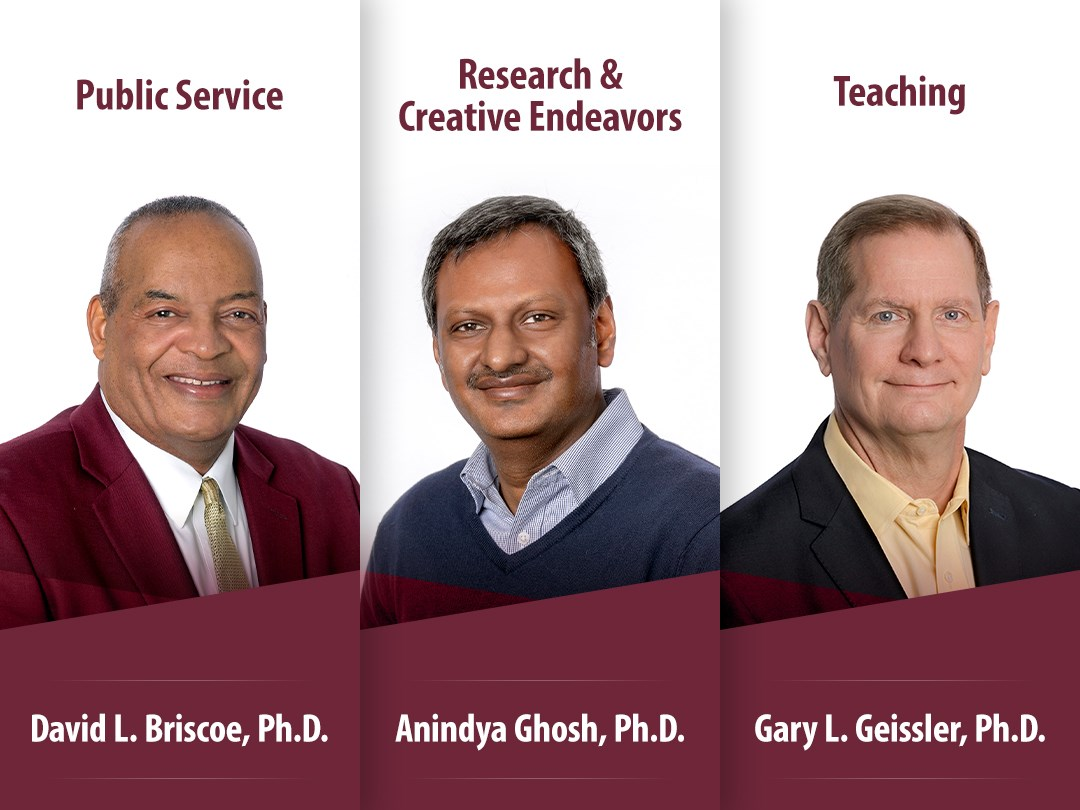 The University of Arkansas at Little Rock has selected Drs. Gary Geissler, Anindya Ghosh, and David Briscoe as the 2020 winners of the Faculty Excellence Awards.