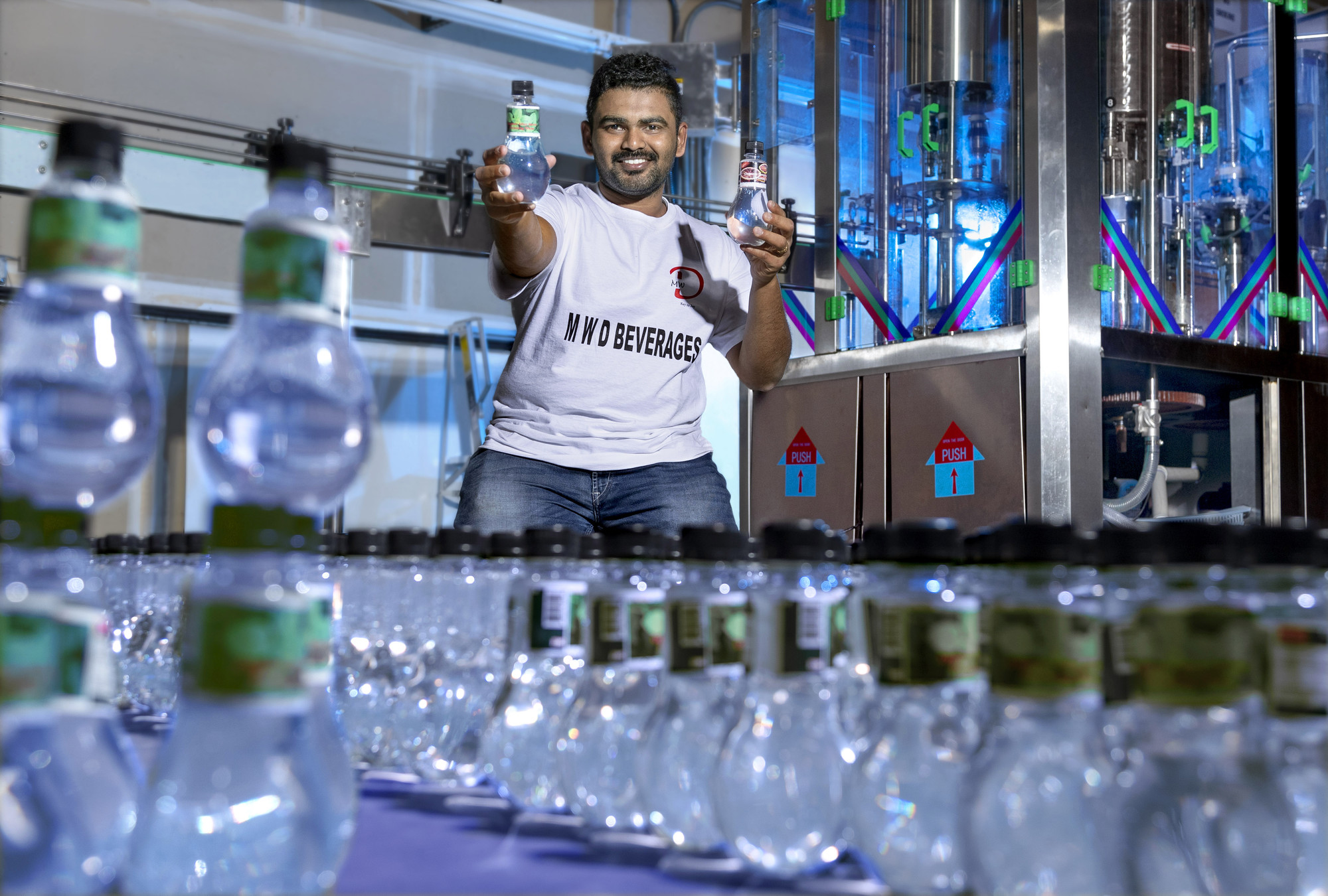 UA Little Rock business student Pavithran (Pavi) Tirukazhukundram Sekar Indira is manufacturing his own brand of flavored drinking water.