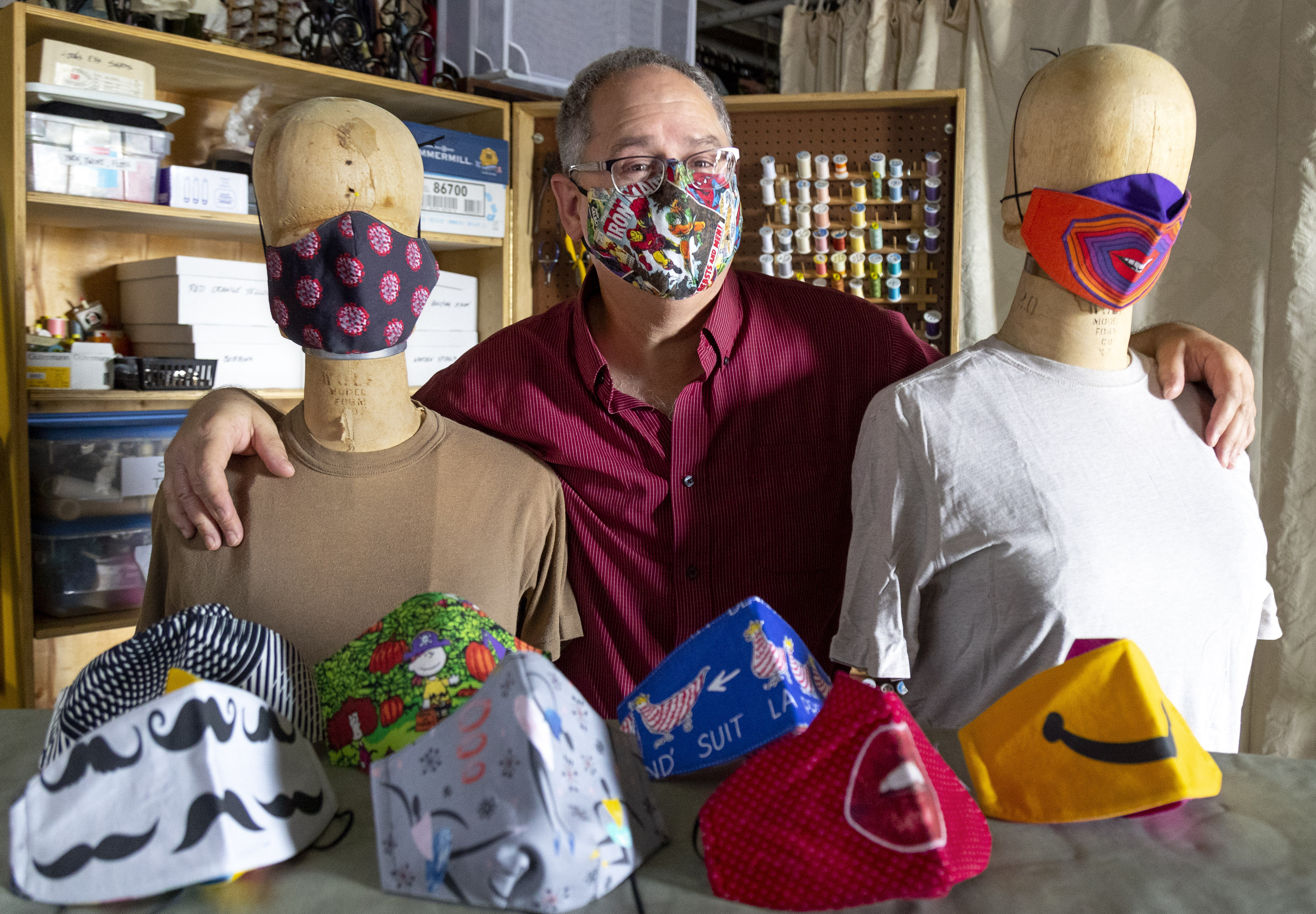 Don Bolinger, UA Little Rock Theater Arts Department Costume Shop Manager, made hundreds of face masks of various prints and patterns to protect students from CoVid 19 when they return to campus.