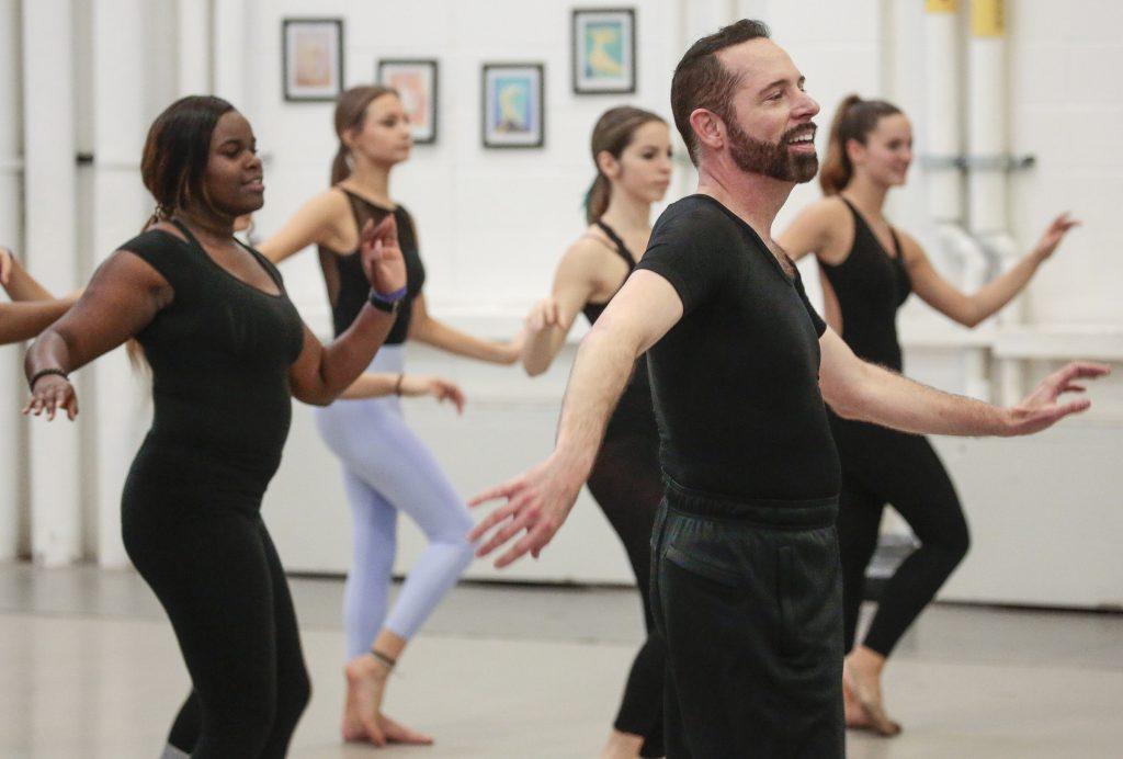 Professor Stephen Stone leads a master class during the Arkansas High School Dance Festival.