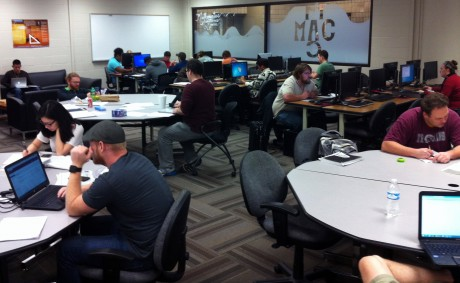 UA Little Rock students and tutors study in the Math Assistance Center.