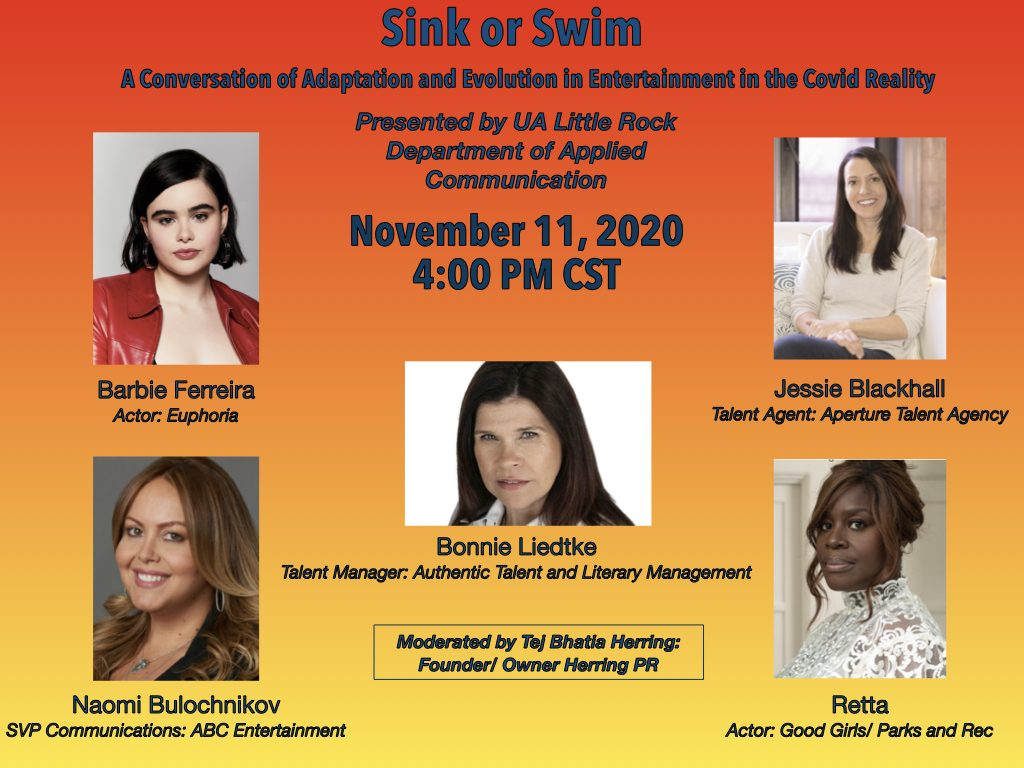 """The University of Arkansas at Little Rock will host a panel of women in entertainment who will discuss how they have adapted to an industry that has changed during the coronavirus pandemic. The event, """"Sink or Swim: A Conversation of Adaptation and Evolution in Entertainment in the Covid Reality,"""" will begin at 4 p.m. Wednesday, Nov. 11."""