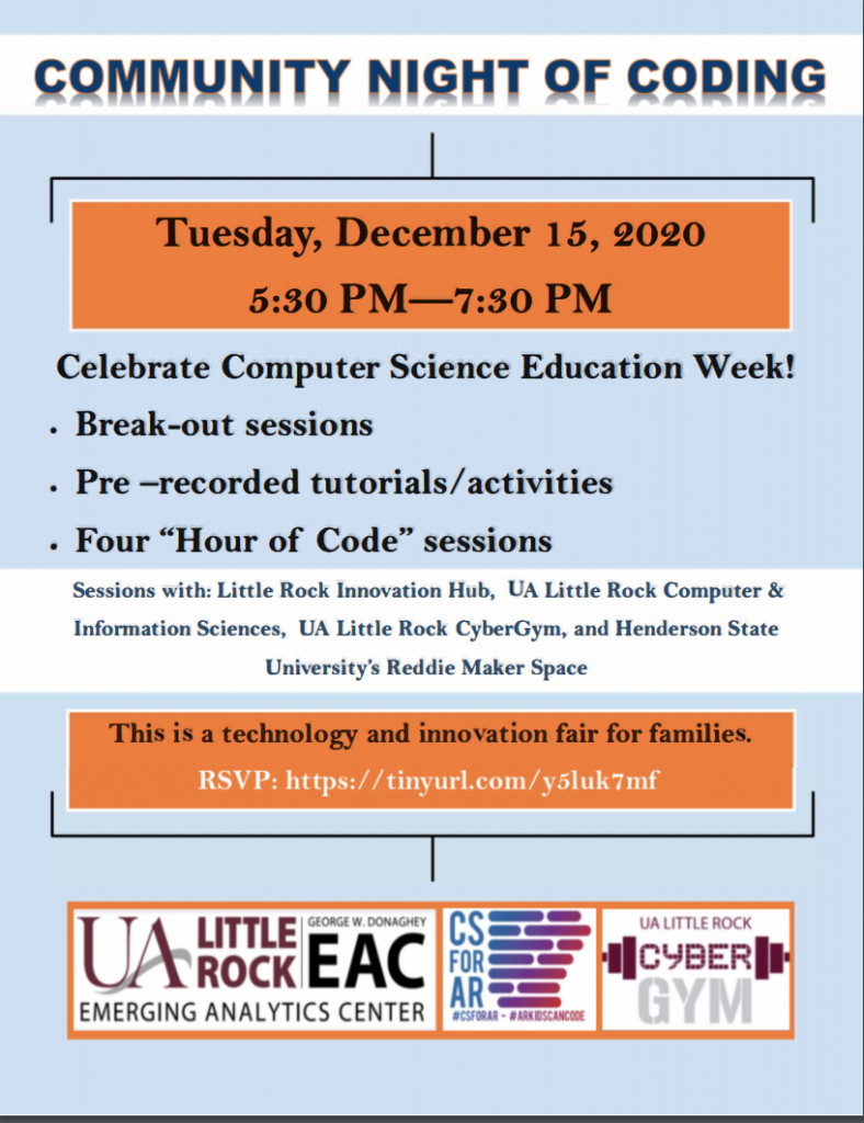 The University of Arkansas at Little Rock will host a virtual Community Night of Coding from 5:30-7:30 p.m. Tuesday, Dec. 15.