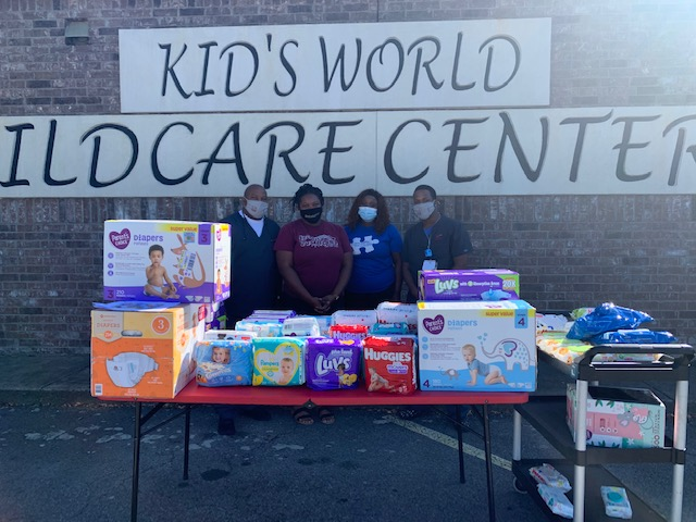 UA Little Rock nursing students Keith Lattimore and Jerrick Johnson collected and donated over 1,000 diapers and 1,150 wipes to donate to a local daycare in Conway as part of a class service project.
