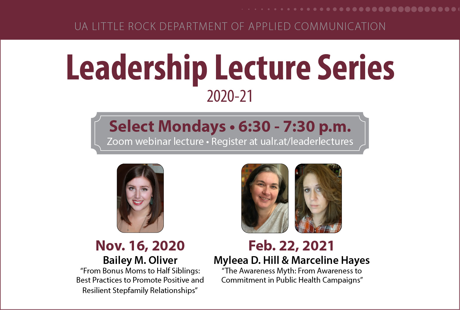 Two Arkansas State University professors will discuss awareness of public health campaigns in the next UA Little Rock Leadership Lecture Series on Feb. 22.
