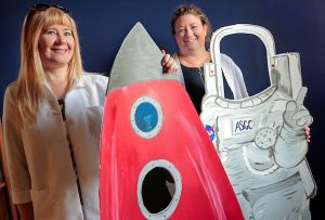 Dr. Mariya Khodakovskaya, left, and Arkansas Space Grant Consortium Program Coordinator Maisty Stukenborgright, right. Photo by Ben Krain.
