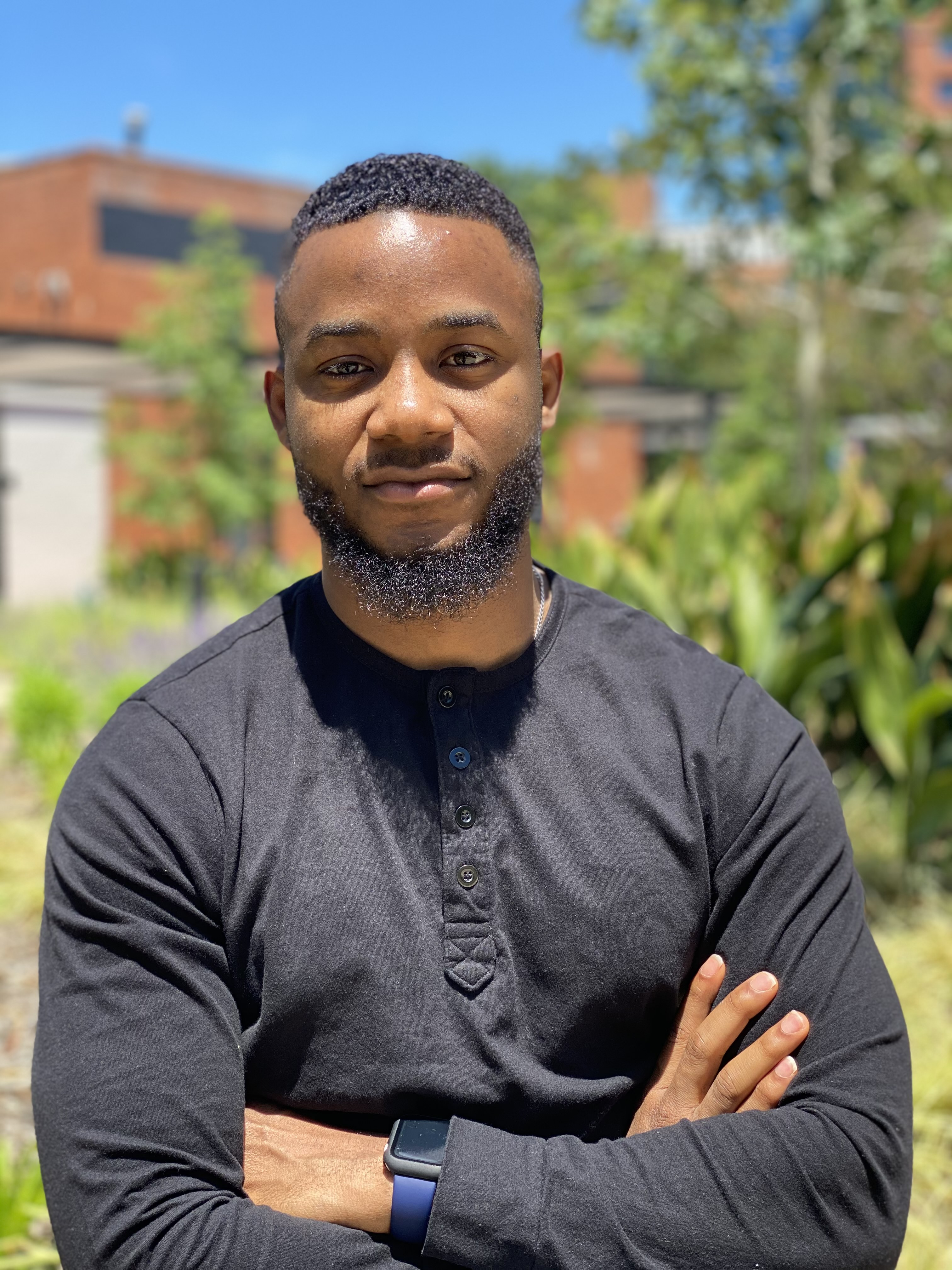 """Oluwaseun """"Seun"""" Johnson is graduating this month from UA Little Rock with a master's degree in information science and a new career at Intuit, Inc."""