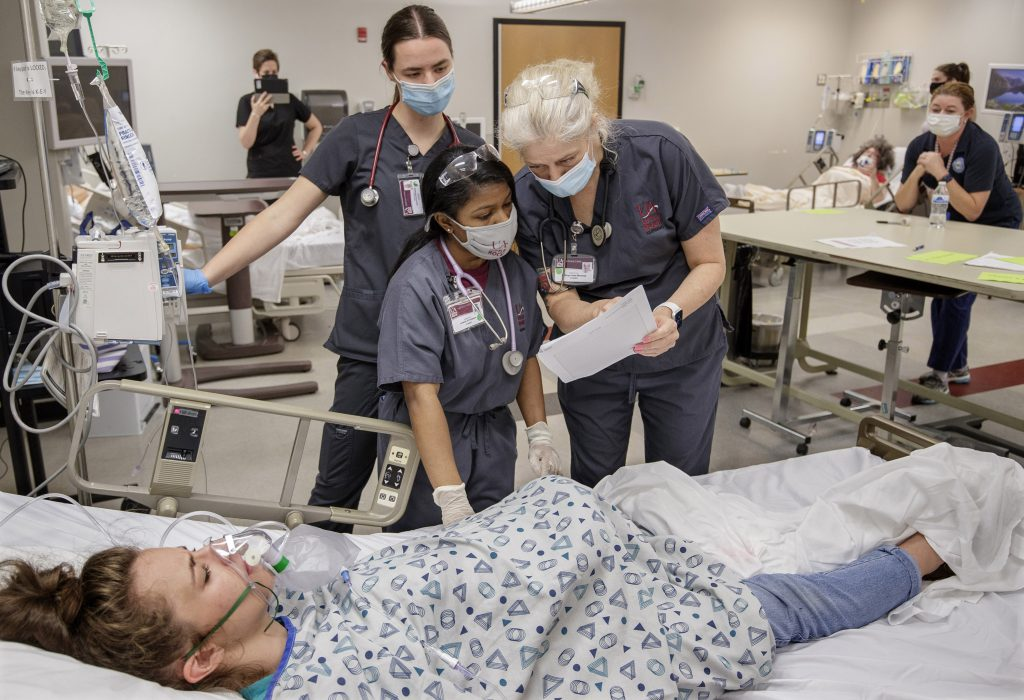Senior nursing students in the UA Little Rock School of Nursing prepare for transition to practice by participating in an Emergency Room simulation in the Center for Simulation Innovation. Photo by Ben Krain.