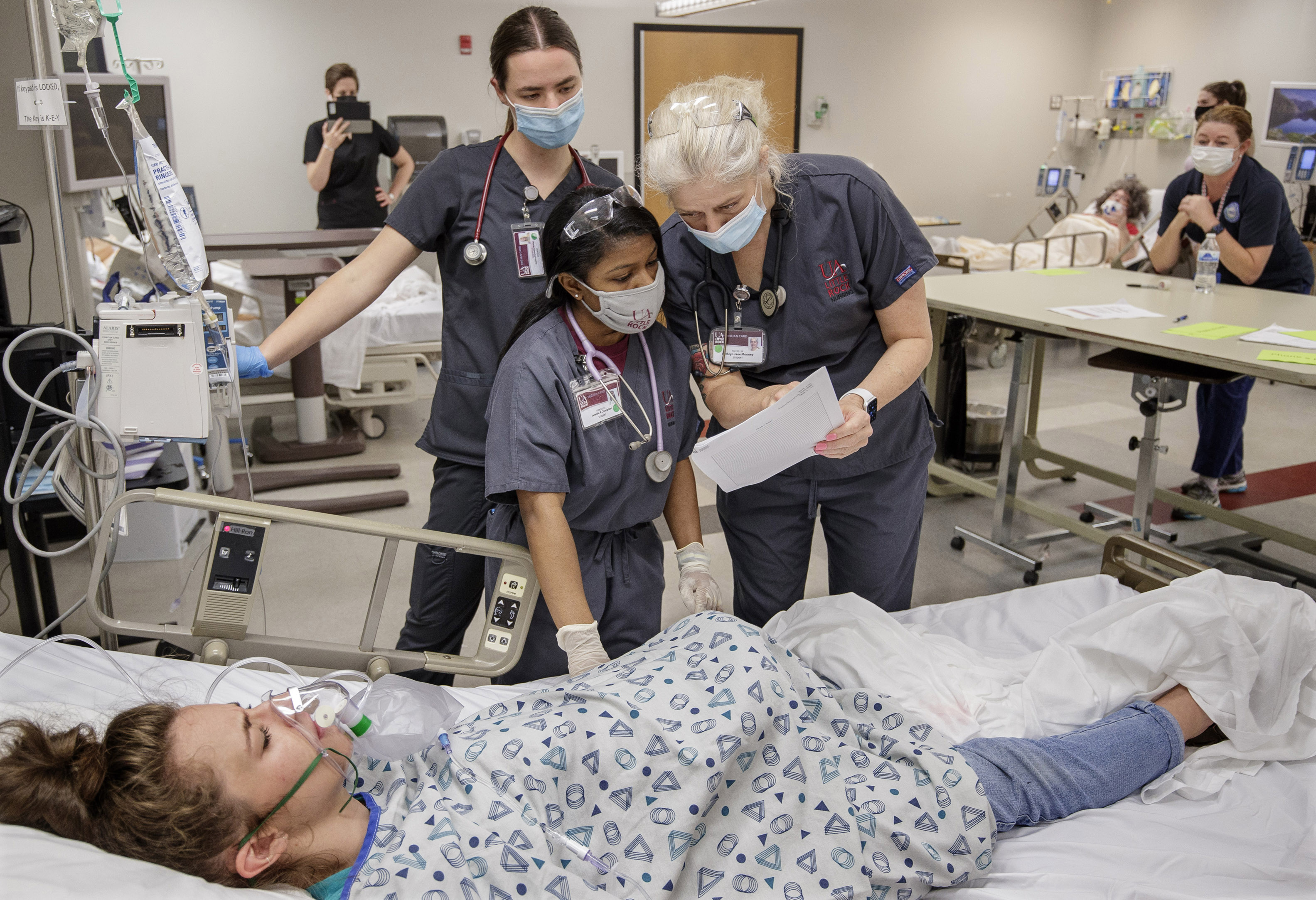 Senior nursing students in the UA Little Rock School of Nursing prepare for transition to practice by participating in an Emergency Room simulation in the Center for Simulation Innovation.