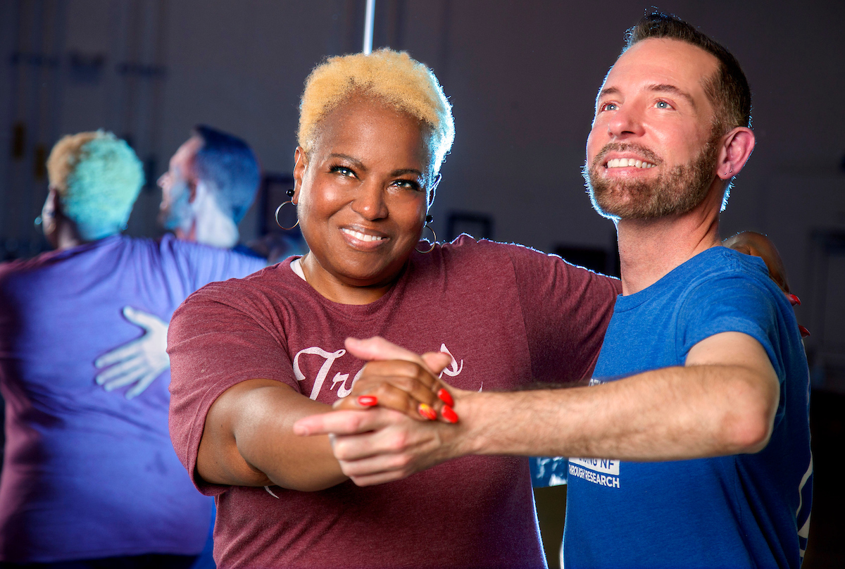 UA Little Rock alumni Helaine Williams and UA Little Rock dance professor Stephen Stone practice for their upcoming performance in the Dancing With Our Stars competition. Photo by Ben Krain.