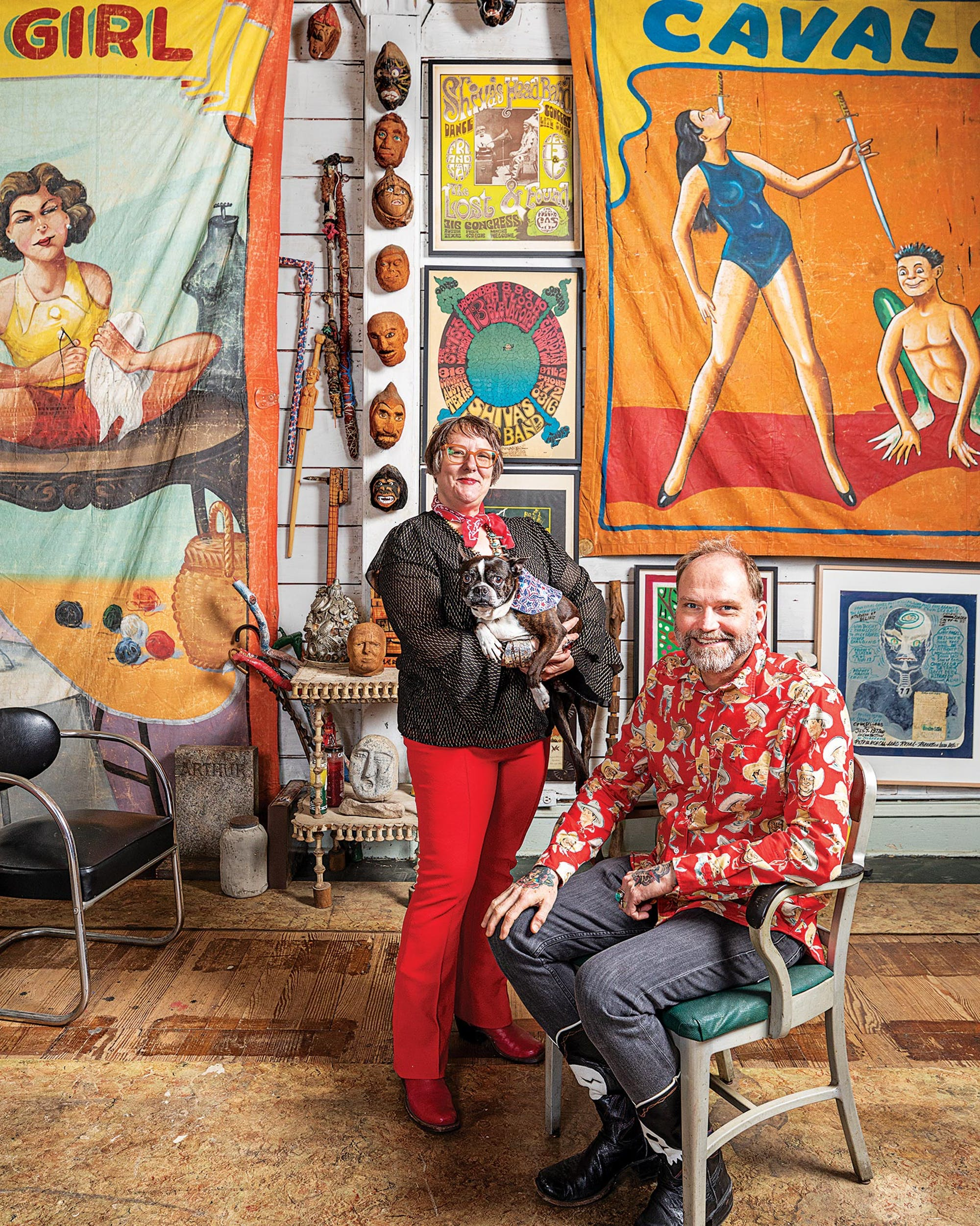 ulie and Bruce Lee Webb w/ dog - Photo by Jeff Wilson (Texas Monthly Magazine)