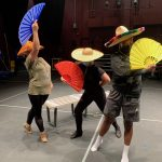 """Student performers Margo Gifford, Trystan Benson, and Essence Simon'e rehearse """"Come and Go"""" in the Center for Performing Arts at UA Little Rock."""