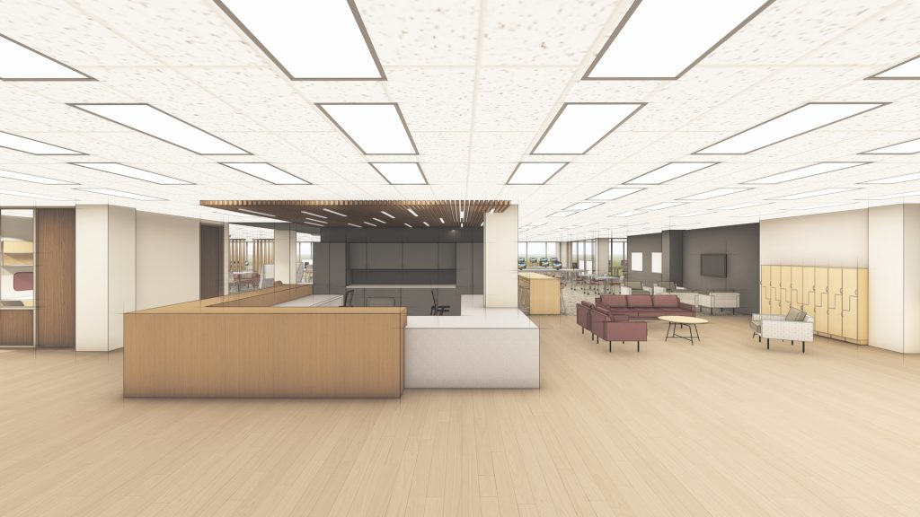 A rendering by WER Architects/Planners of the finished Learning Commons project in Ottenheimer Library.