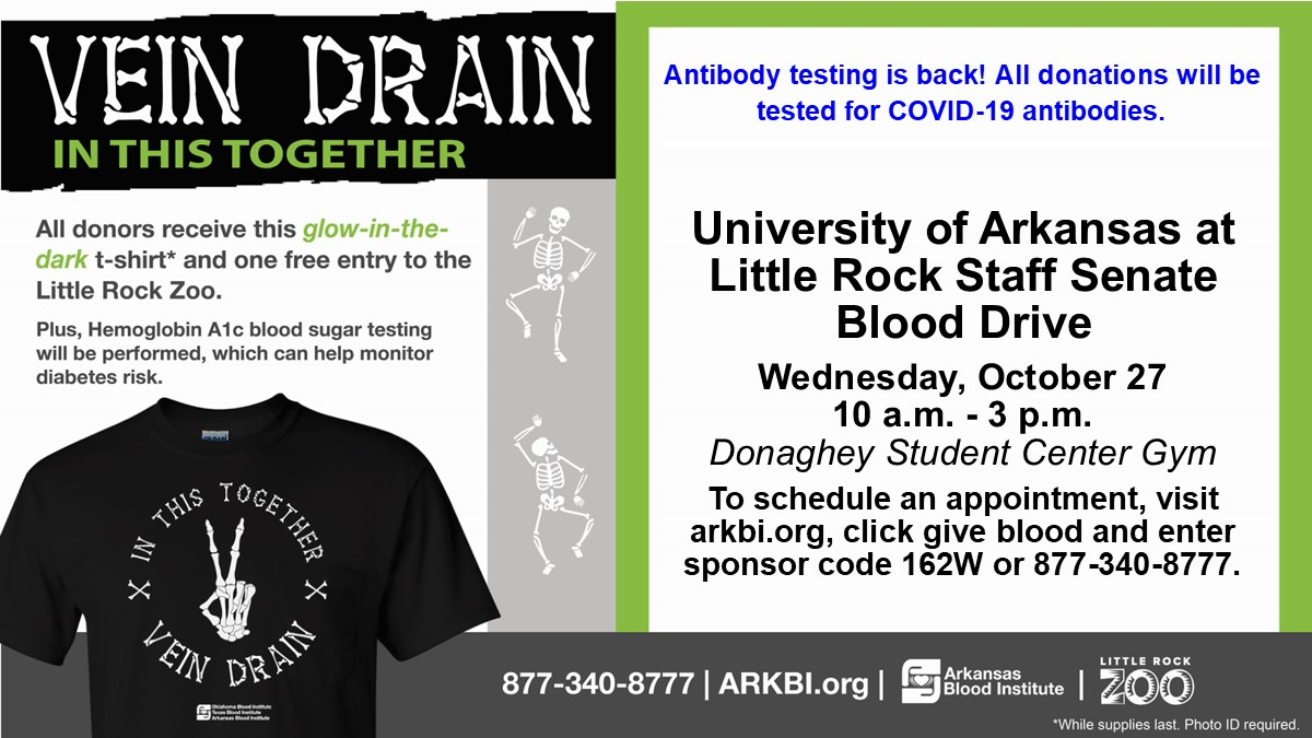 The UA Little Rock Staff Senate will hold a Halloween-themed blood drive on Oct. 27.