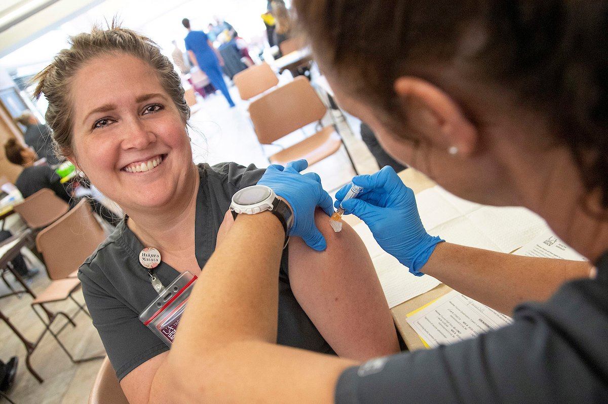 UA Little Rock nursing students administer a flu vaccine during a campus wide clinic. Students and staff were able to receive a free flu vaccine at the annual event held by UA Little Rock Health Services and the Department of Nursing.