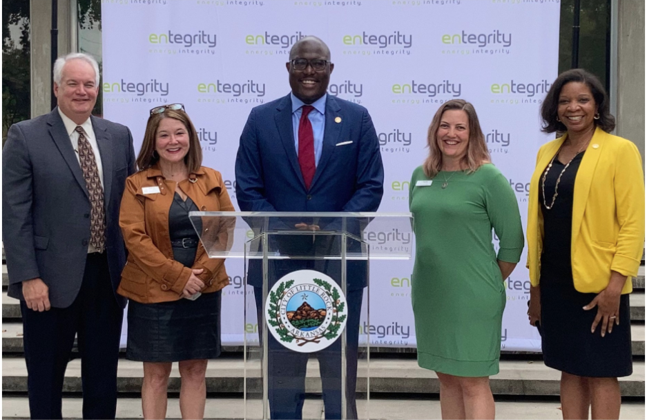 Mayor Frank Scott Jr., Dr. Sarah Beth Estes, dean of the College of Humanities, Arts, Social Sciences, and Education at UA Little Rock, and John Burgess, 2021 chairman of the Little Rock Regional Chamber Board of Directors announce a new citywide initiative on Oct. 6.