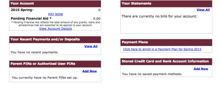student accounts screenshot