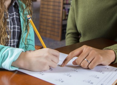 Elementary age Caucasian little girl with brown curly hair is sitting at a desk in a public library. She is working on math homework assignment with a tutor after school. Tutor is an African American college age girl. She is pointing at student's homework and assisting her with math problems.