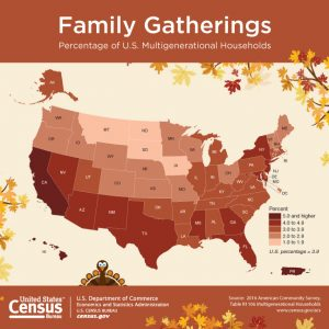 Map visualization of multigenerational households in the United States