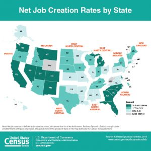 Map visualization of net job creation rates by state in the United States