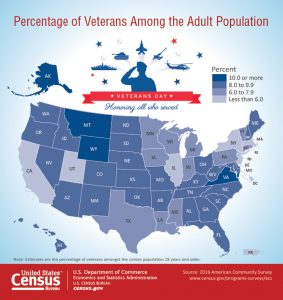 Map visualization of the percentage of veterans among the adult population in the United States