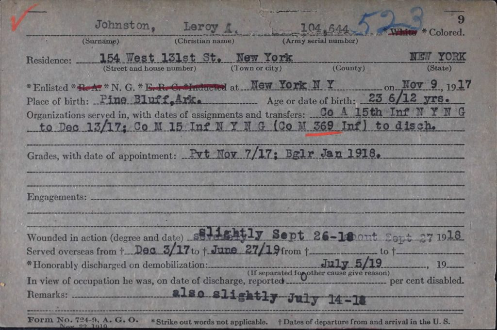 leroy johnston's altered military record, changed from severely to slightly injured in battle
