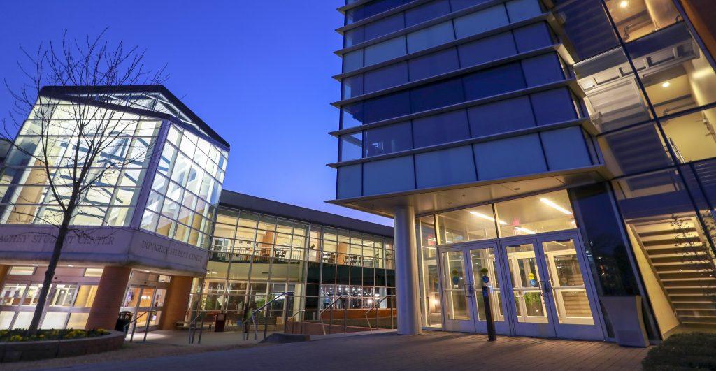 UALR campus buildings at night