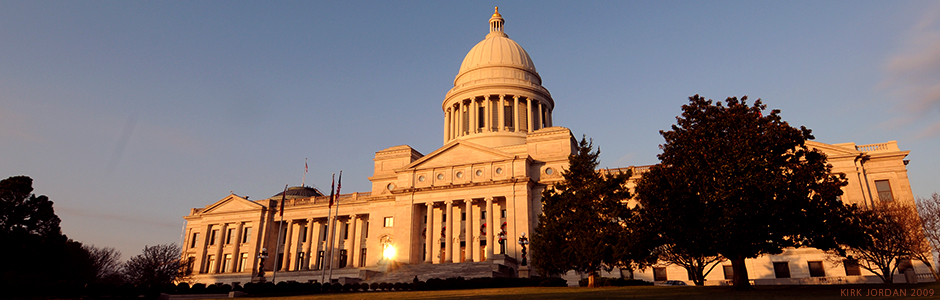 The exterior of the Arkansas Capitol building at daytime