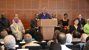 Minnijean Brown Trickey speaks on behalf of the Little Rock Nine