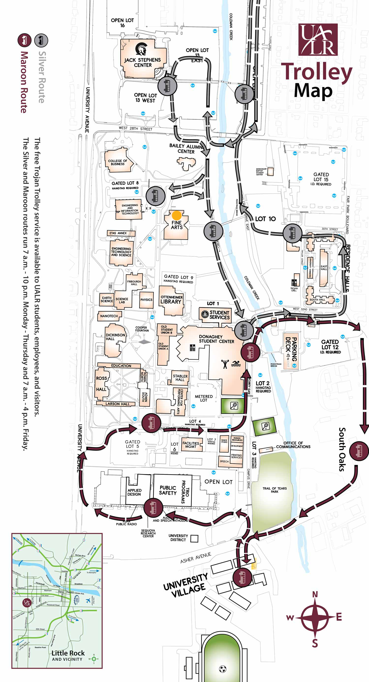 Trolley Map and directions to Fine Arts Building, UALR