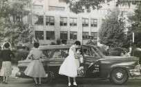Little Rock Nine arrive at Central High School in 1957.