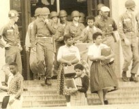 Little Rock Nine Leave Central High in 1957 Escorted by Soldiers