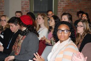 Indiana University Bloomington students listen as Dr. John Kirk gives presentation on the Civil Rights Movement in Arkansas.