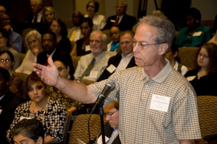 Audience member speaks at Racial Attitudes Conference