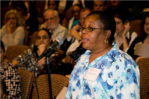 Audience member speaks at last year's Racial Attitudes Conference