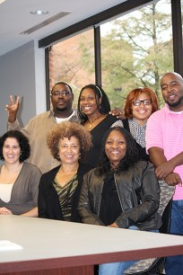 Angela Davis visits with Dr. Laura Barrio-Vilar and her students in the African American Literature class at UALR.
