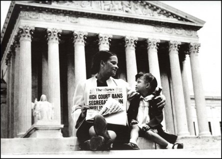 Nettie Hunt and daughter Nikie on steps of U.S. Supreme Court	in 1954, Library of Congress